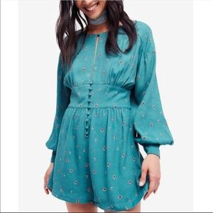 Free People Love Grows Green Comb Romper